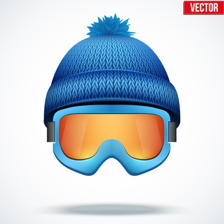 ski wear: Knitted woolen blue cap with snow ski goggles. Winter seasonal sport hat. Vector illustration isolated on white background.