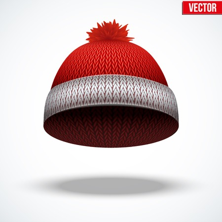 Knitted woolen red cap. Winter seasonal blue hat. Vector illustration isolated on white background. Illustration