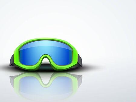 ski goggles: Light Background with green snow ski goggles. Sport symbol of defense.