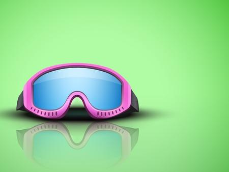 ski goggles: Light Green Background with pink snow ski goggles. Sport symbol of defense. Editable Vector illustration.