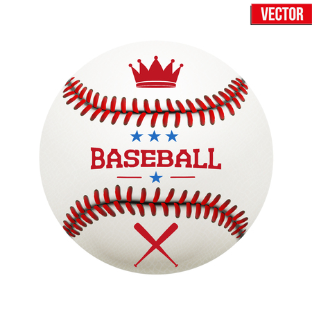 Vector illustration of symbol baseball leather ball. Isolated on white background. Vector