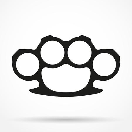 Silhouette einfache Symbol der brassknuckles. Schlagring des Verbrechens. Vektor-Illustration isoliert auf weißem Hintergrund.