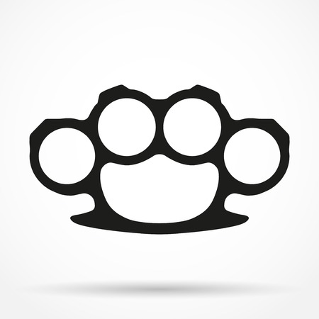 knuckles: Silhouette simple symbol of Brassknuckles. Knuckle-duster of crime. Vector illustration isolated on white background.