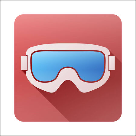 ski goggles: Flat icon Classic snowboard ski goggles with long shadow. Vector illustration isolated on white background Illustration