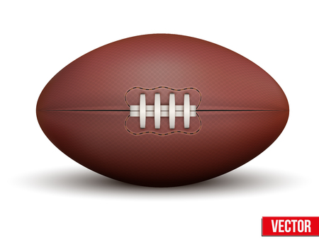ballon de rugby: Rugby ball isol� sur un fond blanc. R�aliste illustration vectorielle.
