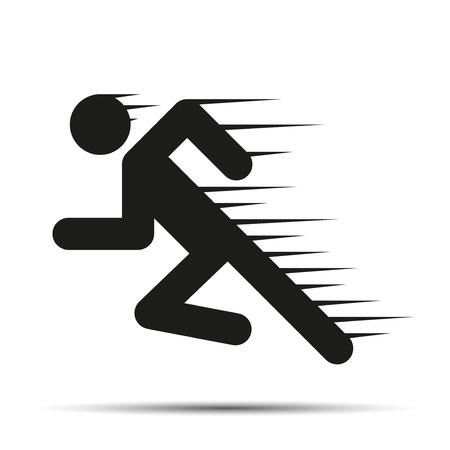 Running mensen in beweging. Eenvoudige symbool van de run die op een witte achtergrond. Vector Illustratie. Stock Illustratie