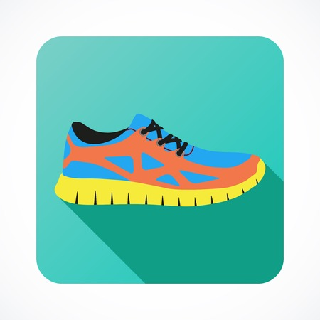 running shoes: Shoes flat icon with bright colorful running sneakers. Vector illustration isolated on white background.