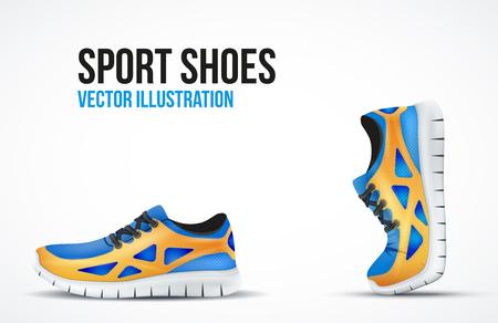 Achtergrond van twee Loopschoenen. Bright Sport sneakers symbolen.