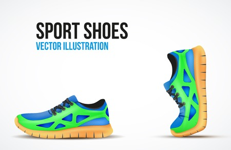 Background of Two Running shoes. Bright Sport sneakers symbols.  Ilustração