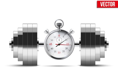 Vector Illustration of dumbbell and stopwatch. Background of training and timing. Vector