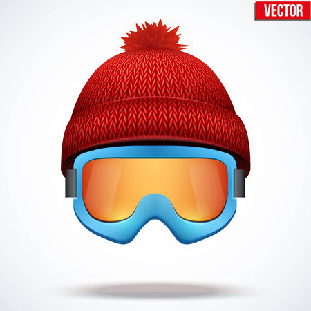 woolen: Knitted woolen red cap with snow ski goggles. Winter seasonal sport hat. Vector illustration isolated on white background. Illustration