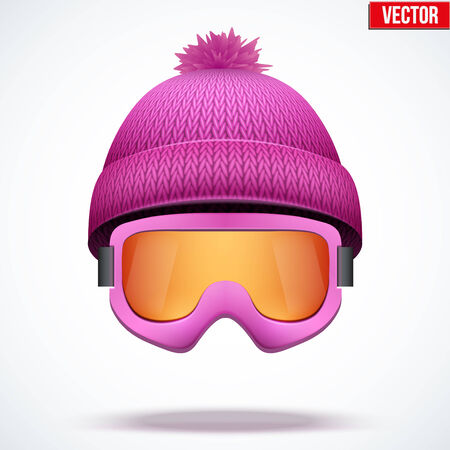 knitten: Knitted woolen pink cap with snow goggles. Winter seasonal sport hat. Vector illustration isolated on white background. Illustration