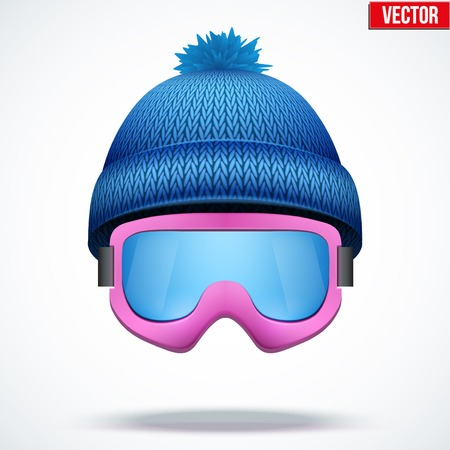 knitten: Knitted woolen blue cap with snow ski goggles. Winter seasonal sport hat. Vector illustration isolated on white background.