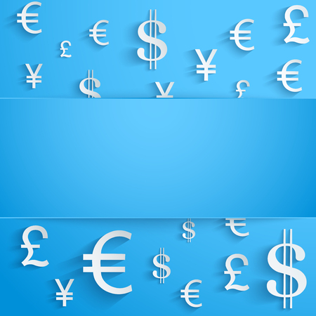 Currency symbol on bright blue background with space for text. Business Illustration.
