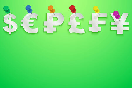 pinned: Bright Background of Currency symbols pinned pushpin with space for text.
