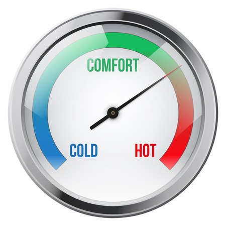 Indicator meter comfort tussen koud en warm. Illustratie op een witte achtergrond.