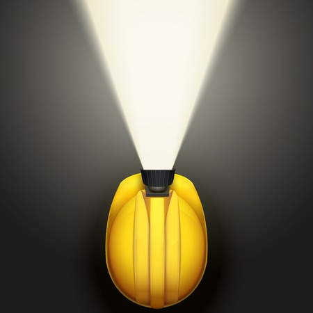 Background of Top view of Classic vintage miners helmet with lamp and light. Illustration on a white background