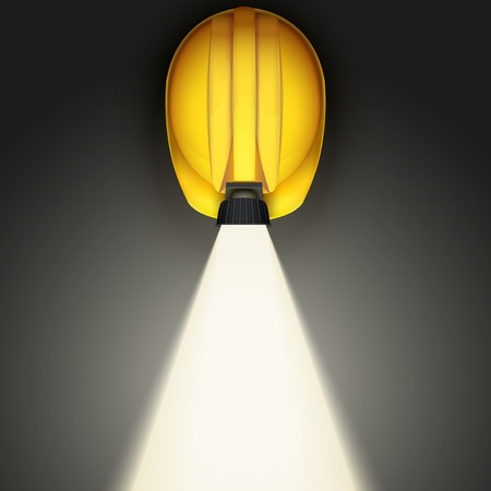 Background of Top view of Classic vintage miners helmet with lamp and light. Illustration on a white background illustration