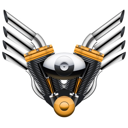tailpipe: Motorcycle engine with metal wings of tailpipe. Illustration Isolated on white background.