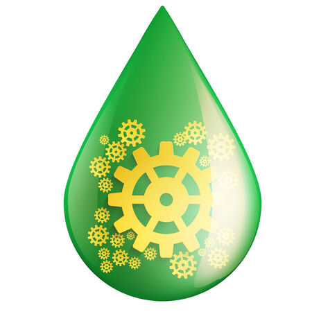 Green oil industry drop symbol with gears cogs.  Illustration isolated on white background. illustration