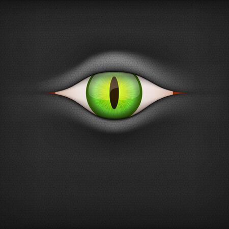 animal eye: Illustrazione di sfondo scuro con verde degli occhi degli animali.