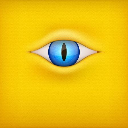 animal eye: Illustrazione di sfondo giallo scuro con gli occhi blu animale.