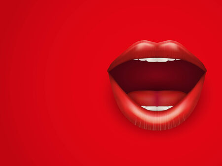 labios rojos: Antecedentes de Boca de Womans con los labios rojos abiertos.