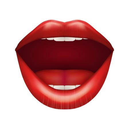 femme bouche ouverte: Les femmes bouche aux lèvres ouvertes. Isolé sur fond blanc.