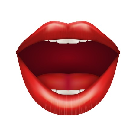 woman open mouth: Womans mouth with open lips. Isolated on white background.