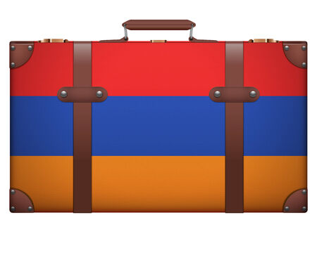 resettlement: Classic luggage suitcase with flag Armenia for travel. Isolated on white background.
