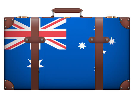 resettlement: Classic luggage suitcase with flag Australia for travel. Isolated on white background. Stock Photo