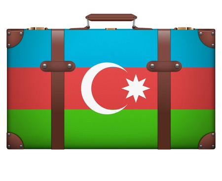 resettlement: Classic luggage suitcase with flag Azerbaijan for travel. Isolated on white background. Stock Photo