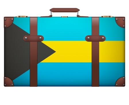 resettlement: Classic luggage suitcase with flag Bahamas for travel. Isolated on white background.