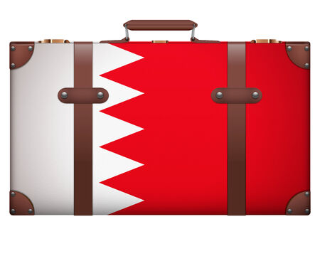 resettlement: Classic luggage suitcase with flag Bahrain for travel. Isolated on white background.