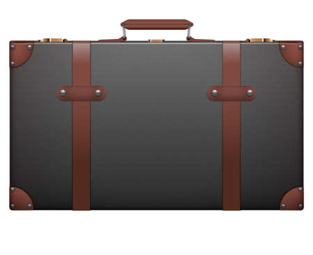 resettlement: Classic vintage luggage suitcase for travel. Isolated on white background.