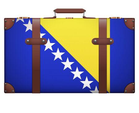 resettlement: Classic luggage suitcase with flag Bosnia and Hercegovina for travel. Isolated on white background. Stock Photo