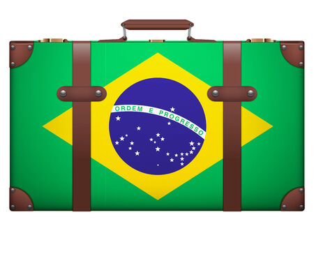 resettlement: Classic luggage suitcase with flag Brazil for travel. Isolated on white background. Stock Photo