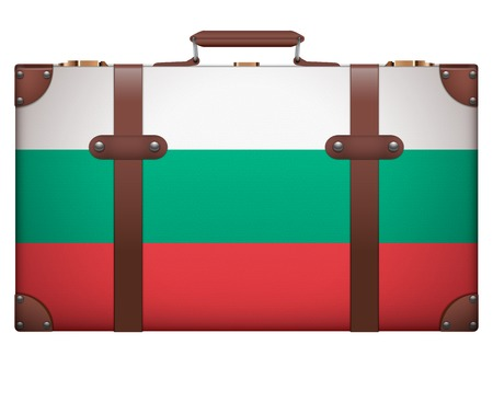resettlement: Classic luggage suitcase with flag Bulgaria for travel. Isolated on white background.