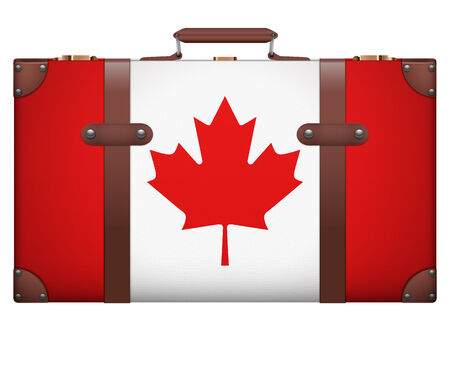 resettlement: Classic luggage suitcase with flag Canada for travel. Isolated on white background. Stock Photo