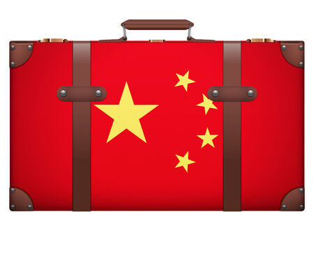 resettlement: Classic luggage suitcase with flag China for travel. Isolated on white background. Stock Photo