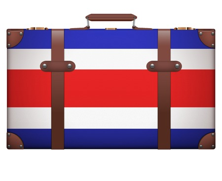 resettlement: Classic luggage suitcase with flag Costa Rica for travel. Isolated on white background.