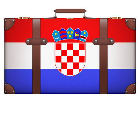 resettlement: Classic luggage suitcase with flag Croatia for travel. Isolated on white background. Stock Photo