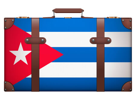 resettlement: Classic luggage suitcase with flag Cuba for travel. Isolated on white background. Stock Photo