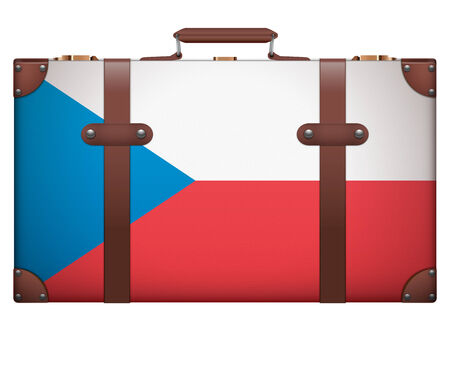 Classic luggage suitcase with flag Czech Republic for travel. Isolated on white background. photo