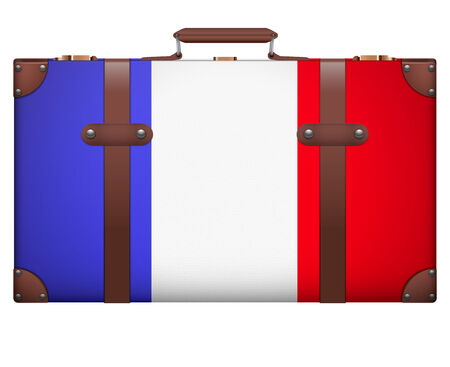 resettlement: Classic luggage suitcase with flag France for travel. Isolated on white background.