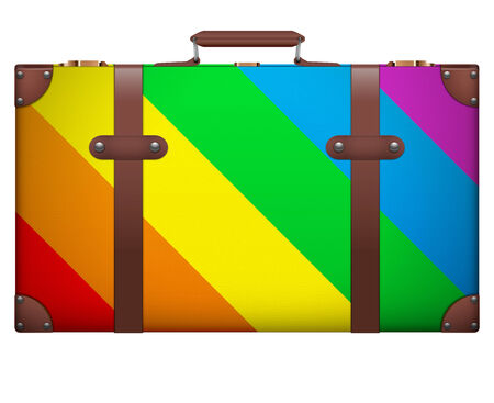 resettlement: Classic vintage luggage suitcase for travel in rainbow color. Isolated on white background. Stock Photo