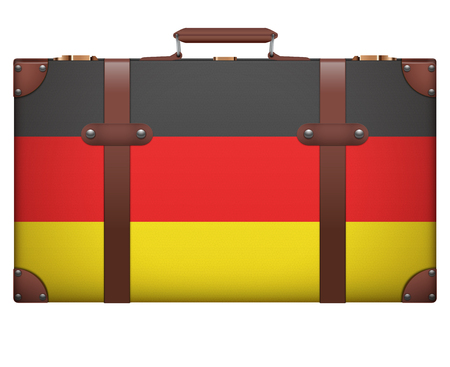 resettlement: Classic luggage suitcase with flag Germany for travel. Isolated on white background. Stock Photo