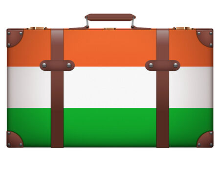resettlement: Classic luggage suitcase with flag Hungary for travel. Isolated on white background.