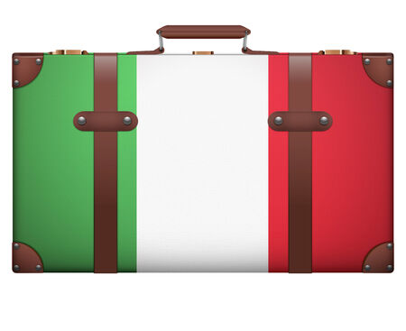 resettlement: Classic luggage suitcase with flag Italy for travel. Isolated on white background.