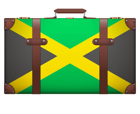 resettlement: Classic luggage suitcase with flag Jamaica for travel. Isolated on white background. Stock Photo
